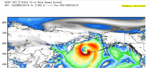 Surface wind forecast NOAA GFS model