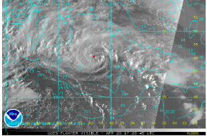 NOAA Satellite image TS Arlene over cold SST