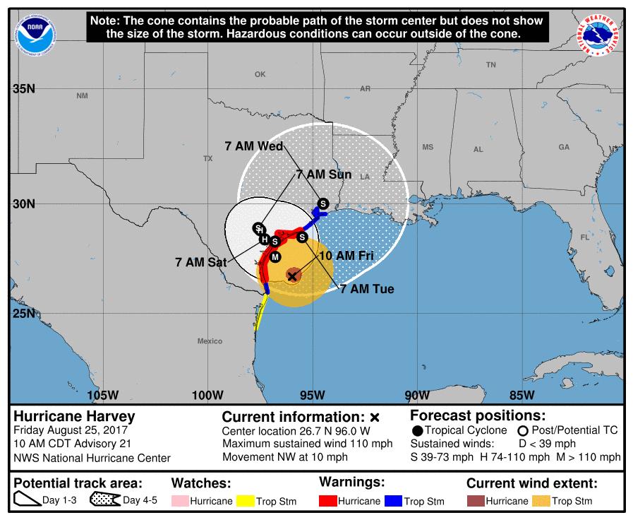 Hurricane Harvey track forecast: NOAA NHC