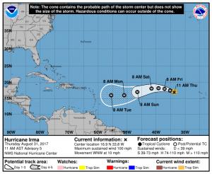 NOAA NHC Hurricane Irma forecast track