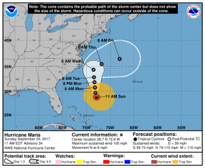 NOAA Hurricane Maria Forecast Track