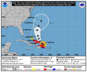 NHC Forecast track for Hurricane Maria