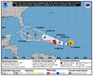 NOAA NHC Forecast track for Hurricane Irma